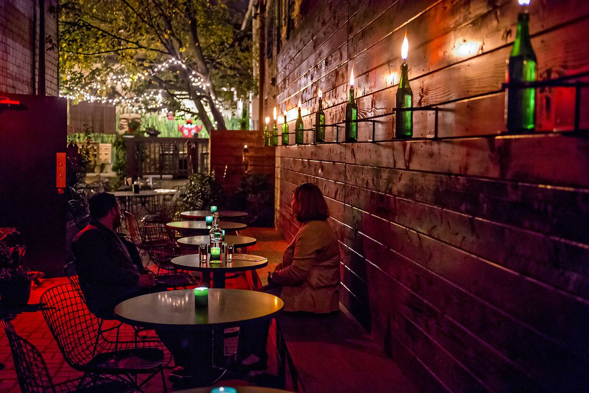 The patio at The SOS Tiki Bar, home of Eat Me Speak Me.