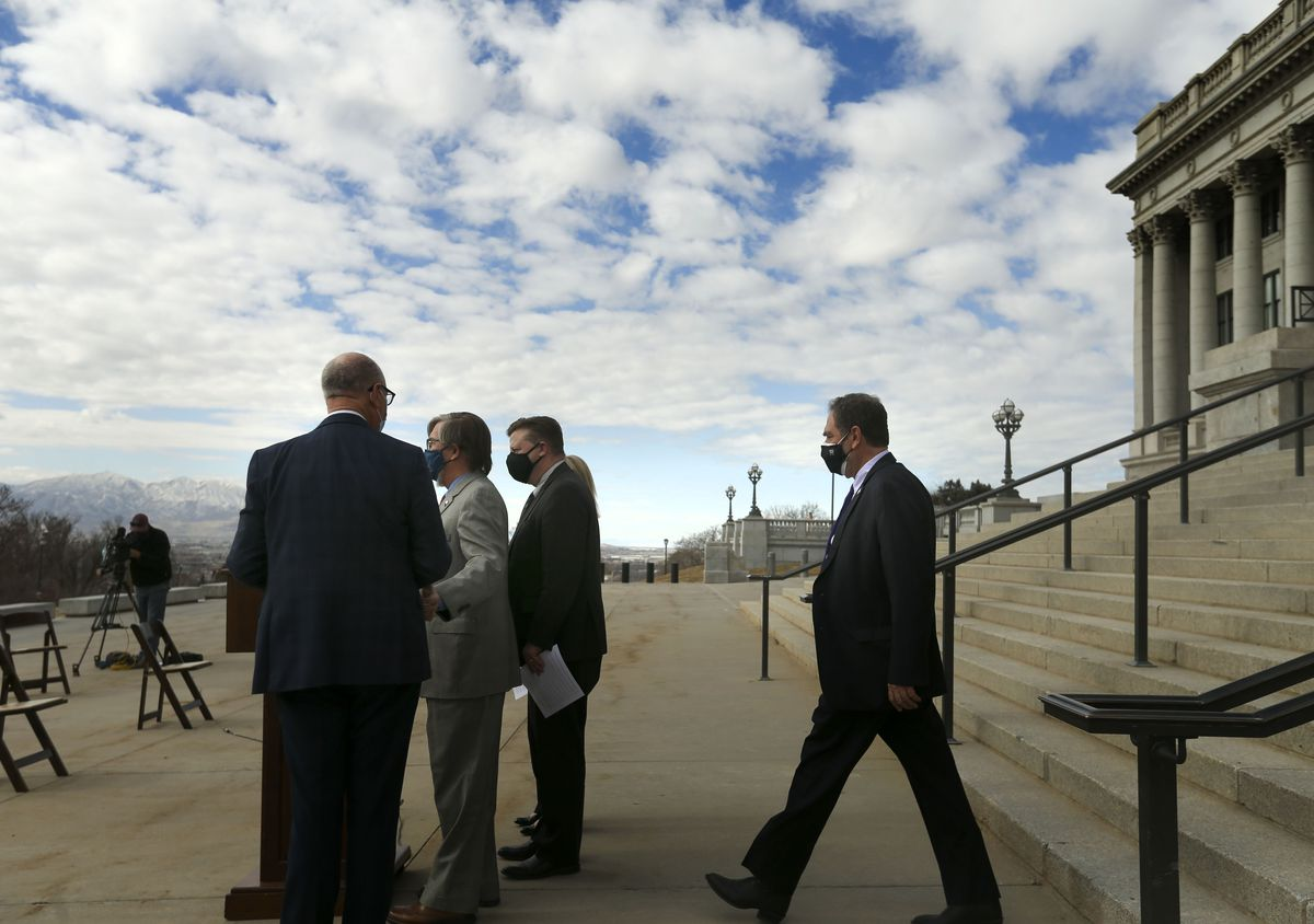Rep. Brian King, D-Salt Lake City, right, and members of the bipartisan Clean Air Caucus prepare to discuss air quality legislation and funding requests under consideration during the Legislature's 2021 general session at the Capitol in Salt Lake City on Wednesday, Feb. 10, 2021.