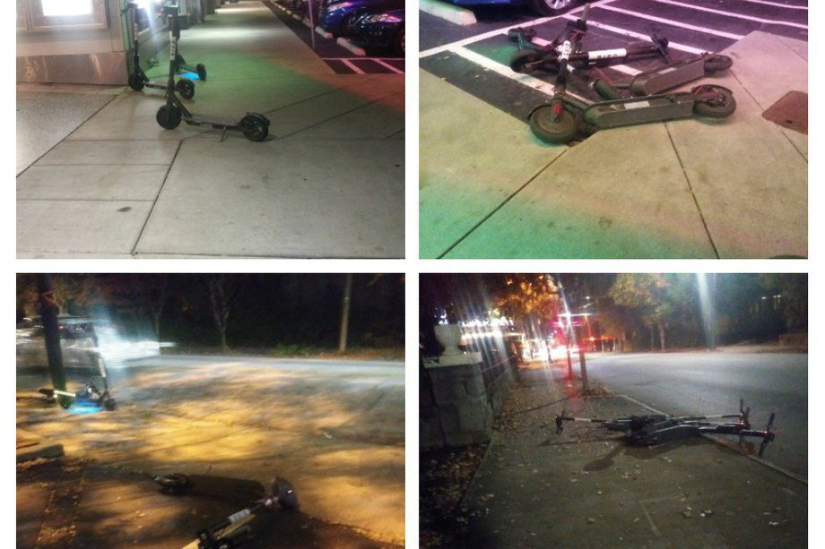 A photo of scooters strewn about Atlanta streets and sidewalks.