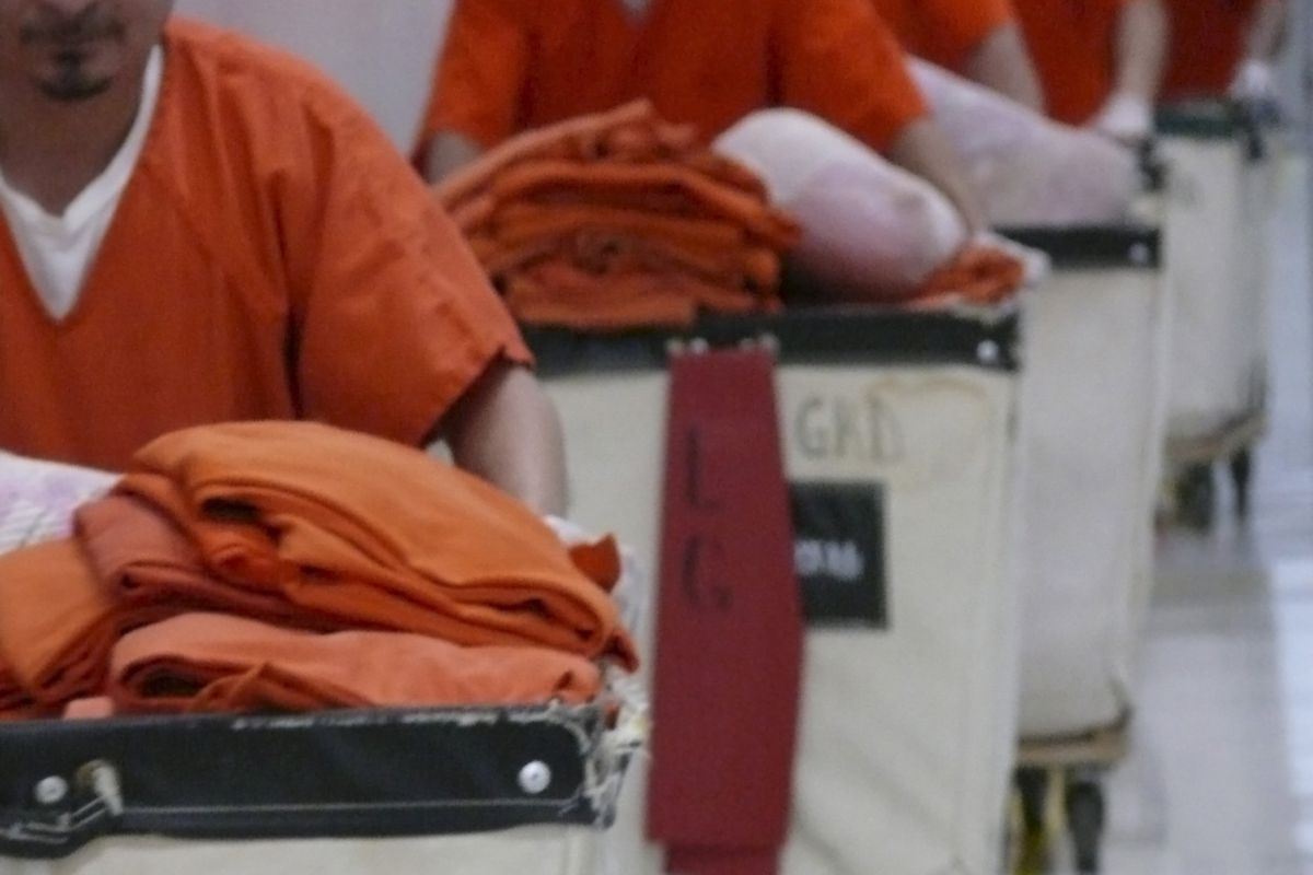 Immigrants held in a private prison in Texas.