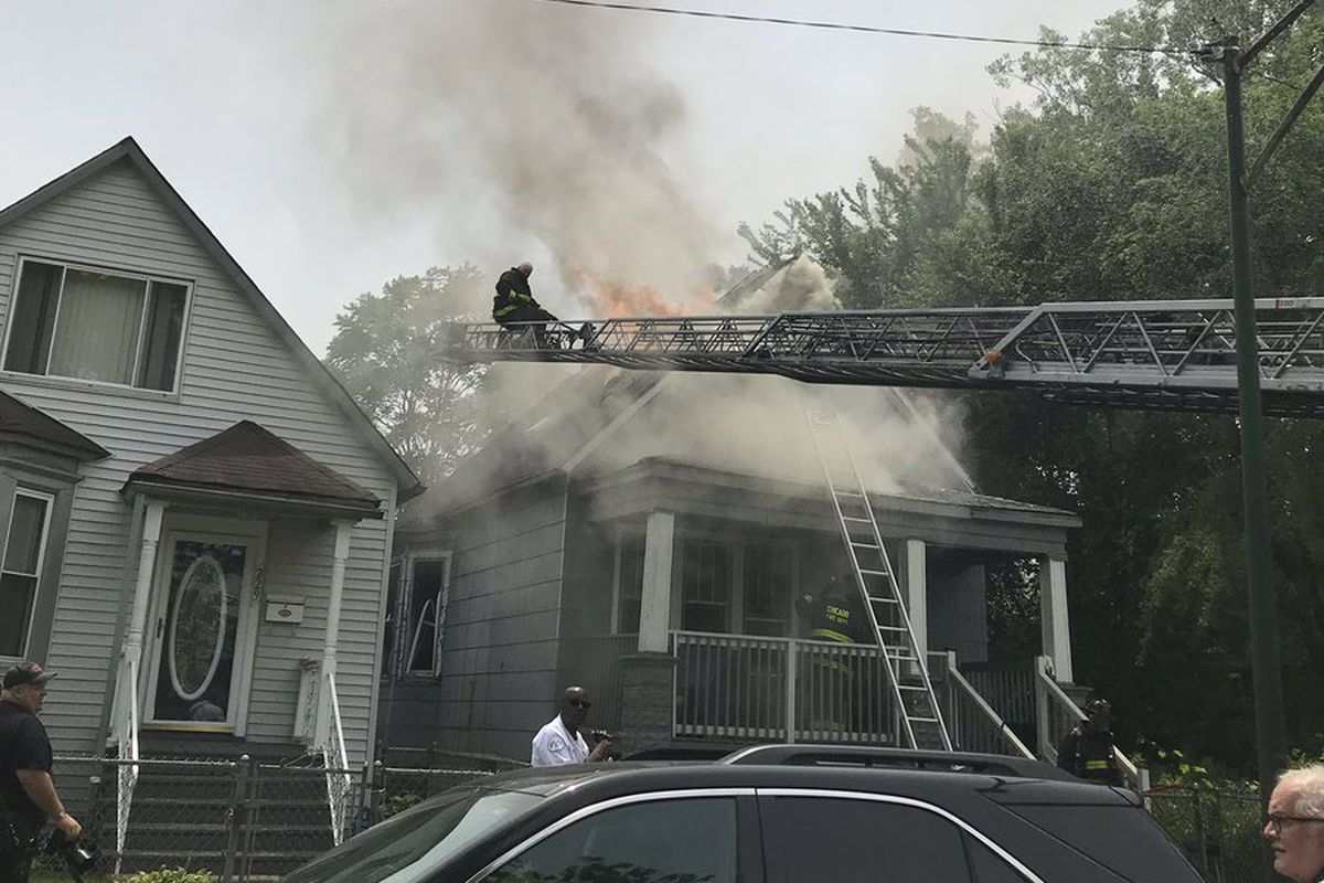 The Chicago Fire Department responds to a fire