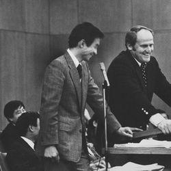 Shuichi Yaginuma interprets for BYU head football coach LaVell Edwards during a fireside in Tokyo Dec. 31, 1977.