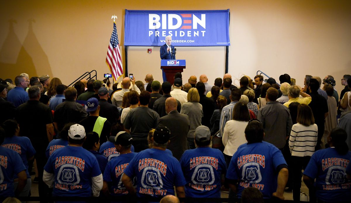 Former Vice President Joe Biden speaks at the International Union of Painters and Allied Trades District Council 16 on May 7, 2019 in Henderson, Nevada.