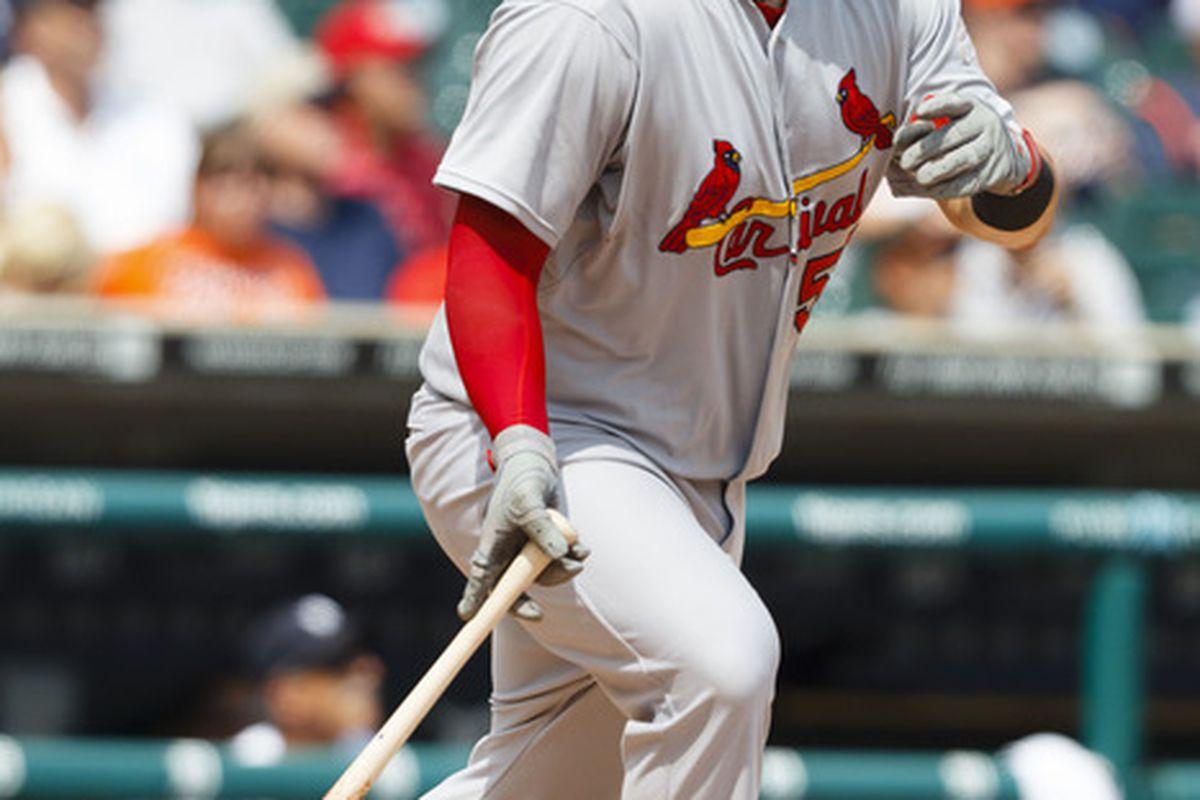 June 21, 2012; Detroit, MI, USA; St. Louis Cardinals first baseman Matt Adams (53) at bat against the Detroit Tigers at Comerica Park. Mandatory Credit: Rick Osentoski-US PRESSWIRE