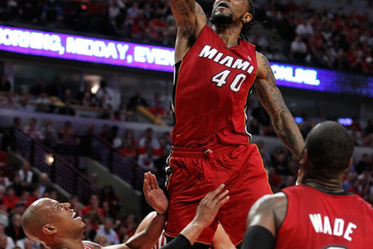 CHICAGO, IL - MAY 18:  Udonis Haslem of the Miami Heat dunks against the Chicago Bulls in Game Two of the Eastern Conference Finals. (Photo by Gregory Shamus/Getty Images)