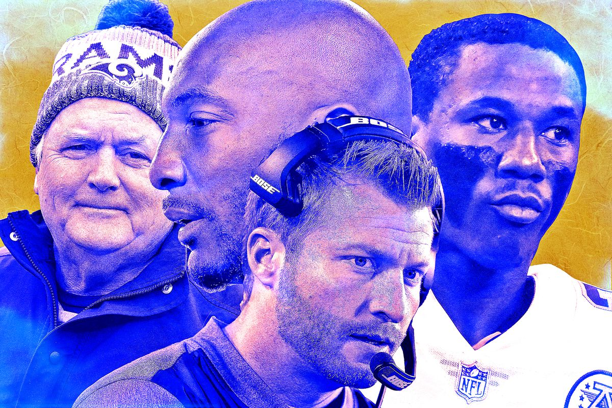 A photo collage featuring Wade Phillips, Aqib Talib, Sean McVay, and Marcus Peters of the Los Angeles Rams