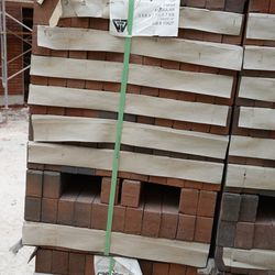 5:14 p.m. Stack of bricks waiting to be installed, on Sheffield -