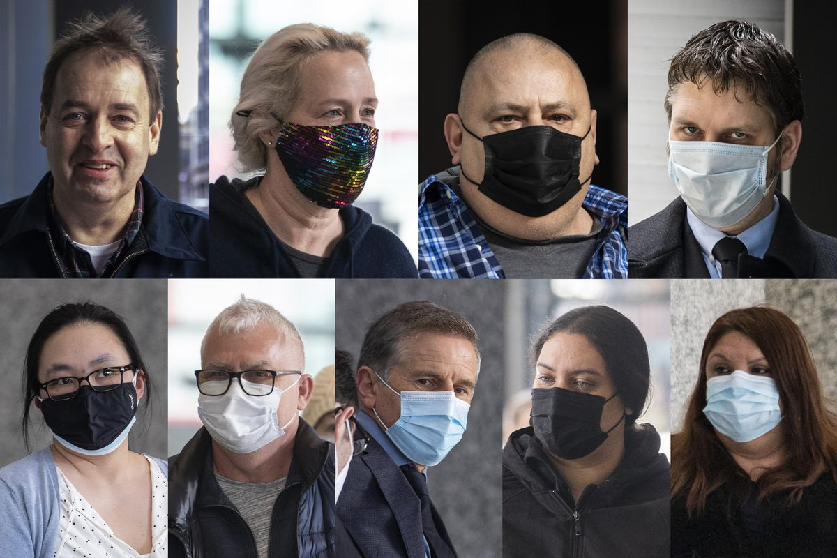 (Clockwise from top left) Robert Kowalski, Jan Kowalski, Marek Matczuk, James Crotty, Alicia Mandujano, Cathy Torres, Boguslaw Kasprowicz, Miroslaw Krejza and Jane Tran Iriondo at the Dirksen Federal Courthouse on March 4, when all were arraigned on charges stemming from the investigation into failed Washington Federal Bank for Savings.
