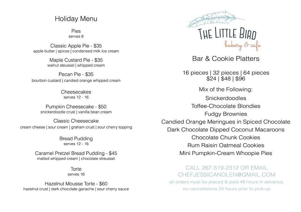 little bird holiday menu