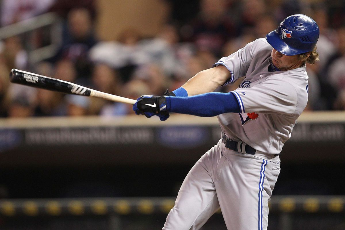 May 11, 2012; Minneapolis, MN, USA: Toronto Blue Jays center fielder Colby Rasmus (28) hits a RBI single in the fourth inning against the Minnesota Twins at Target Field. Mandatory Credit: Jesse Johnson-US PRESSWIRE