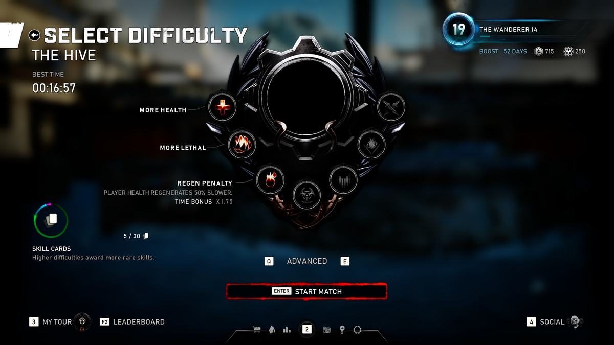 A difficulty setting for Gears 5 Escape mode, number three, is called Advanced. It slows player health regeneration by 50% and multiplies to end time by 1.75 for purposes of ranking players.