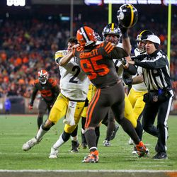 November 2019: The Browns' defense came with an intensity all game long on Thursday Night Football against the Pittsburgh Steelers. The Browns led 14-0 at halftime, and then had a 21-7 heading into the final seconds of the game. One kneeldown would have ended the game, but Pittsburgh tried to run a wide receiver screen pass instead. Off-screen, all hell broke loose, as the camera inexplicably showed DE Myles Garrett cracking QB Mason Rudolph in the head with Rudolph's own helmet. The win improved the Browns to 4-6, but it took the life out of the win.