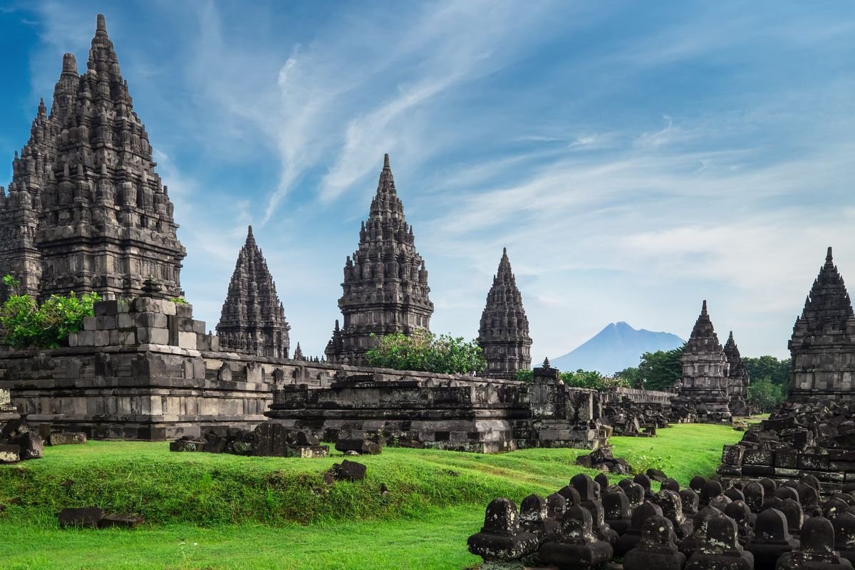 """The exterior of <span data-author=""""843"""">Prambanan in Indonesia. The temple is ornately decorated and has many towers.</span>"""