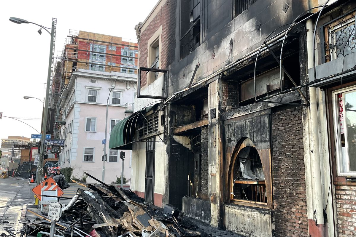 OB Bear damaged by fire in Koreatown on November 22, 2020.