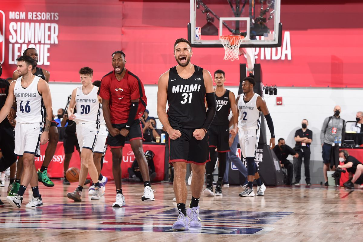 Max Strus #31 of the Miami Heat after making the game winning shot during sudden death overtime during the game against the Memphis Grizzlies during the 2021 Las Vegas Summer League on August 11, 2021 at the Cox Pavilion in Las Vegas, Nevada.