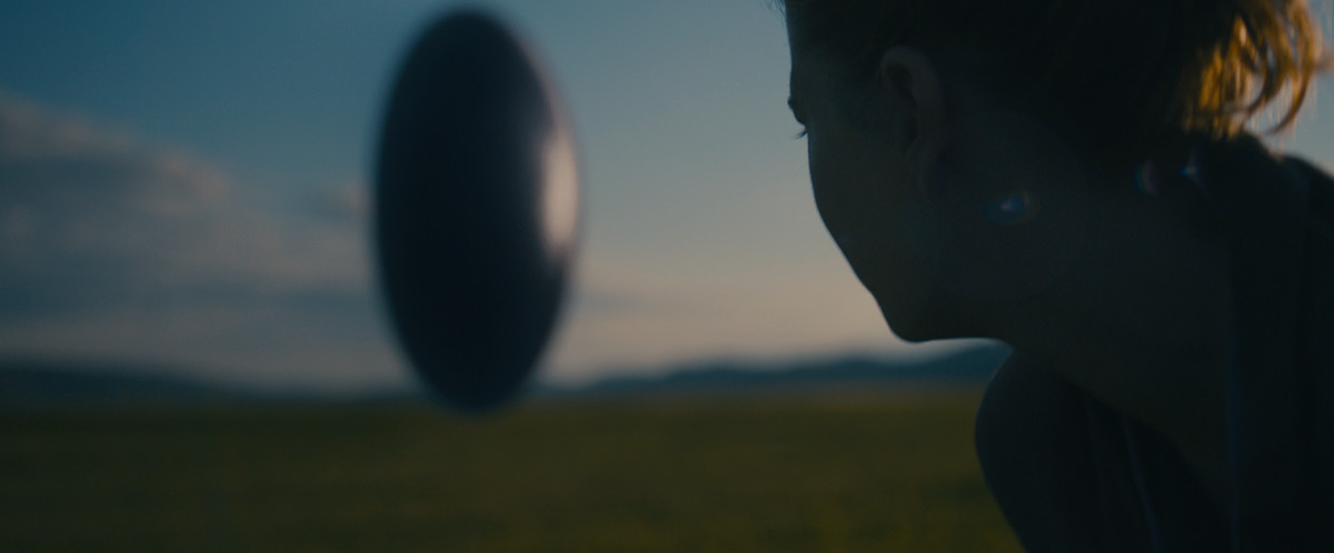 A redhead scientist looks over his shoulder at an egg-like spacecraft hanging over the green grass