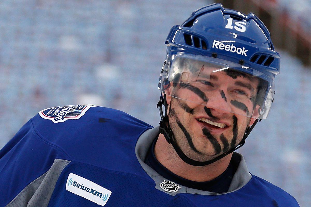 Eye Black foul? Paul Ranger of the Toronto Maple Leafs