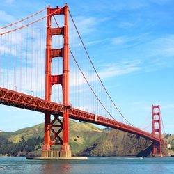 """Golden Gate Bridge  Does the magic of the Golden Gate Bridge ever grow old? Not for a San Francisco girl. And Crissy Field is the idea place for this Warriors cheerleader and her four-legged friend to unwind. """"After my perfect Saturday away fr"""
