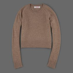 """The sweater crop top: <strong>Organic by John Patrick</strong> Crop Pullover with Rib Trim in Camel, <a href=""""http://www.millmercantile.com/Organic_by_John_Patrick__Crop_Pullover_with_Rib_Trim_in_Camel_14568.html"""">$268</a> at Mill Mercantile"""