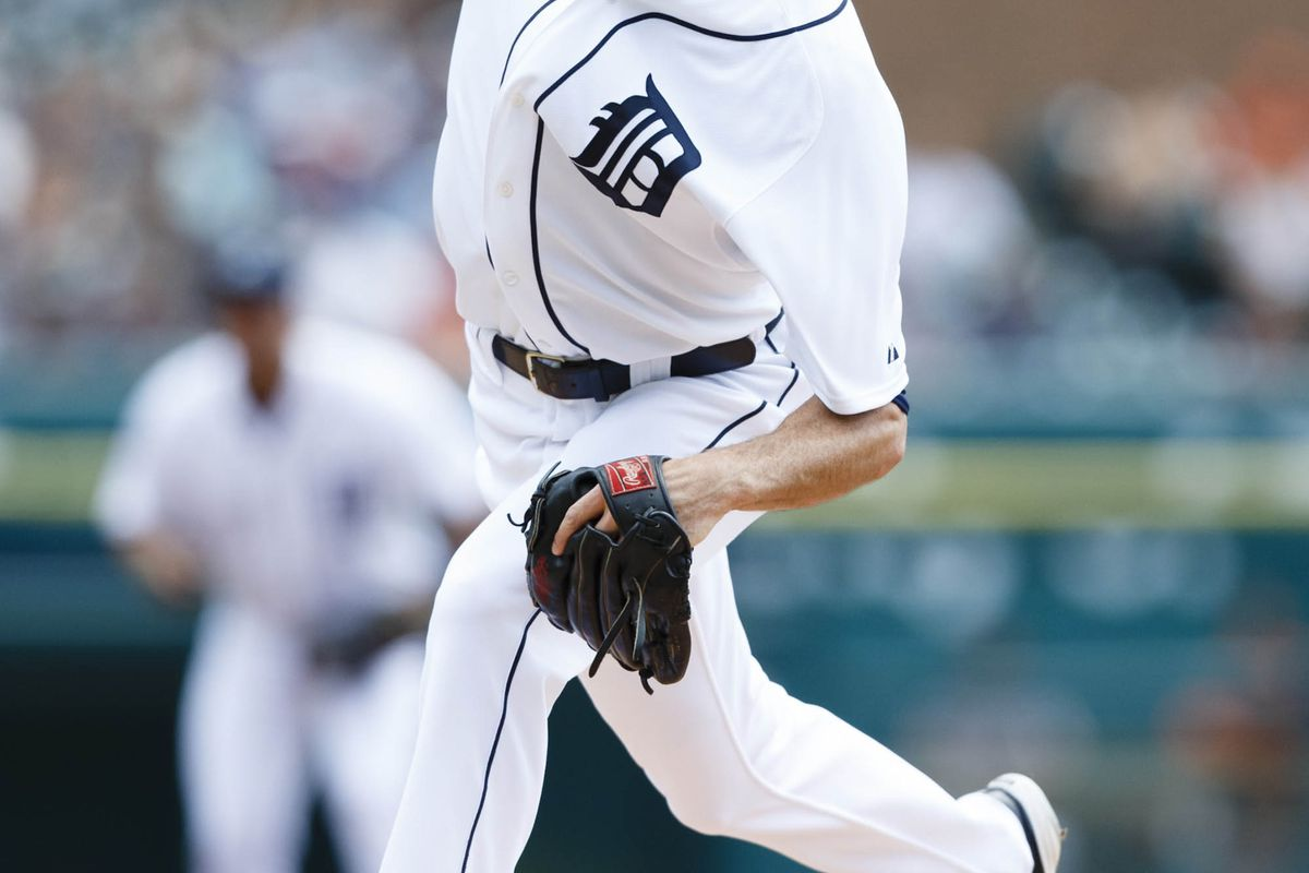 August 19, 2012; Detroit, MI, USA; Detroit Tigers starting pitcher Doug Fister (58) pitches during the first inning against the Baltimore Orioles at Comerica Park. Mandatory Credit: Rick Osentoski-US PRESSWIRE