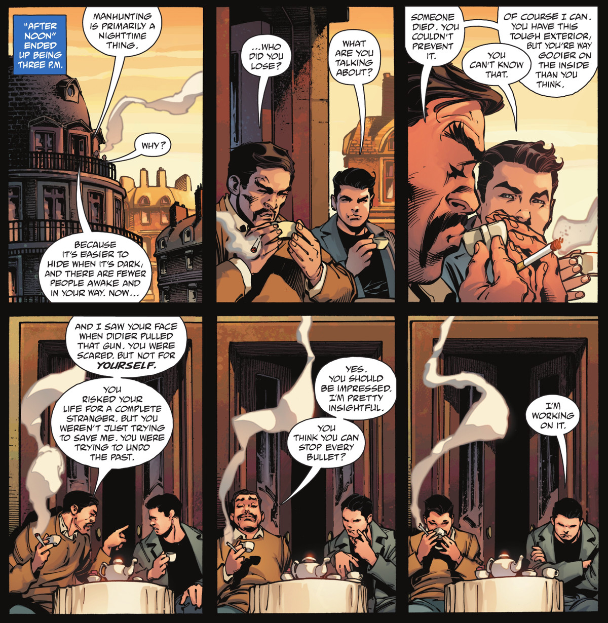 """Henri Ducard tells a young Bruce Wayne that he can tell he's trying to make up for some tragedy by learning his trade. """"You think you can stop every bullet?"""" he asks. Bruce crosses his arms grumpily. """"Working on it."""" From Batman: The Detective #3, (2021)."""