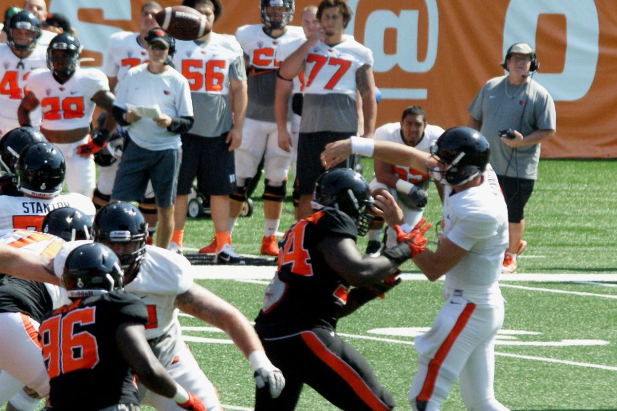 The Oregon St defense was all over the offense in the Beavers Scrimmage Saturday