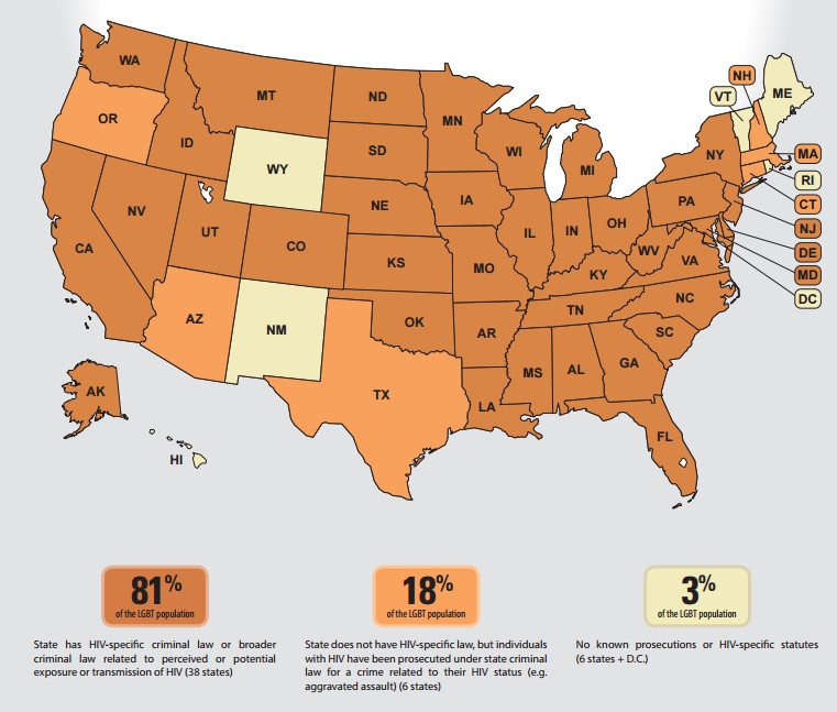 A map of HIV criminalization laws.