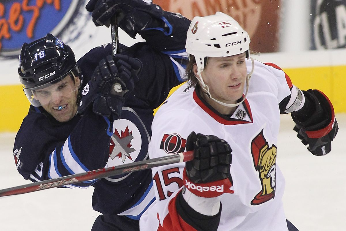 Z. Smith, not giving a crap about getting a two-handed slash from Jets captain Andrew Ladd