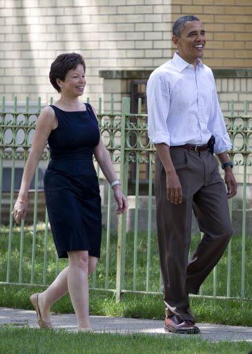 Senior White House adviser Valerie Jarrett with President Barack Obama in Hyde Park in 2012.   AP