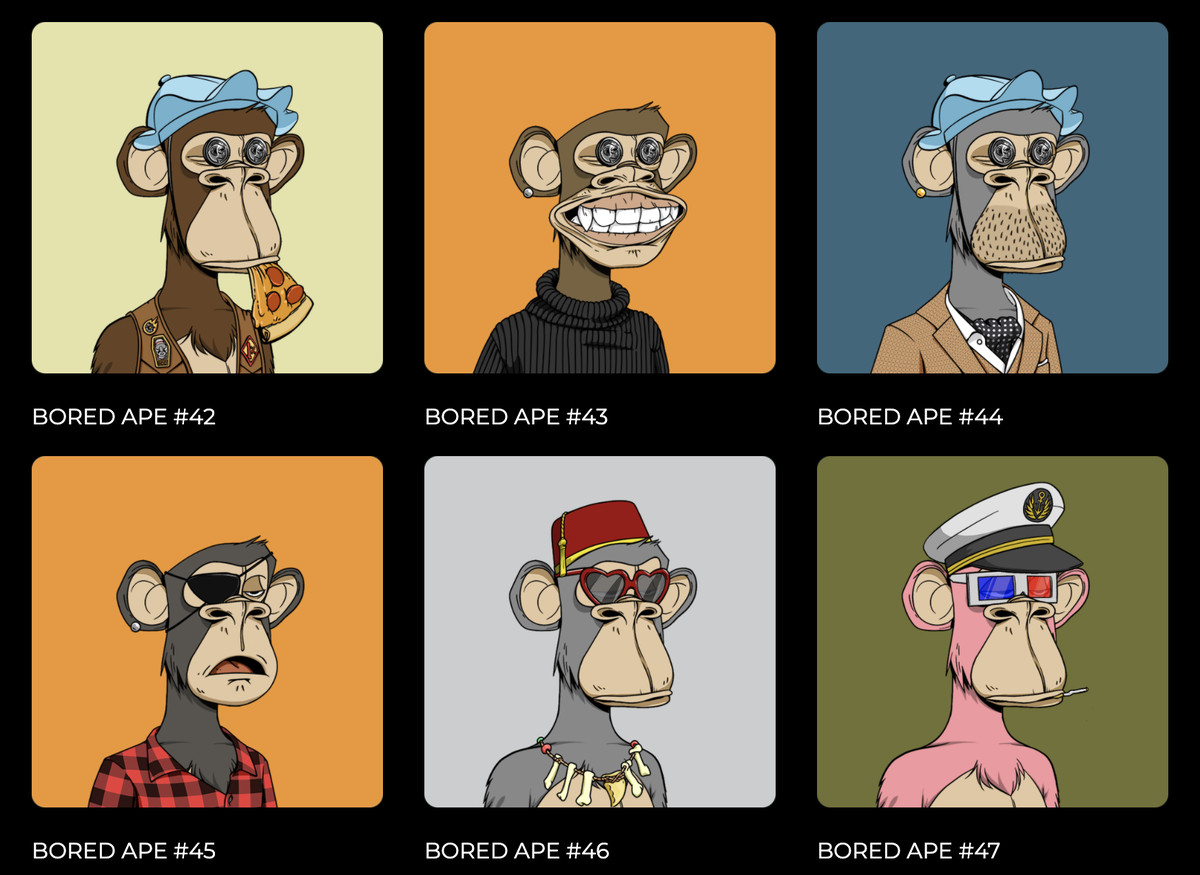 Six apes wearing different clothes and accessories. One has pizza in its mouth, another wears a flannel, another has 3D glasses.