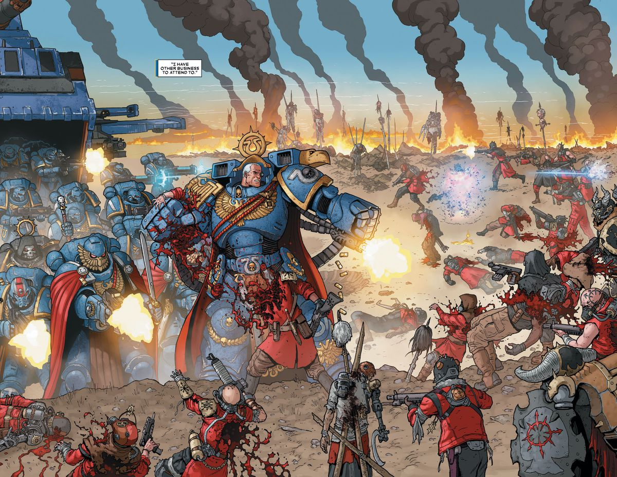 Marneus Calgar and a demi-company of Ultramarines leaping from a Thunderhawk Gunship to tear through some generic Chaos troops, in Warhammer 40,000: Marneus Calgar #1, Marvel Comics (2020).