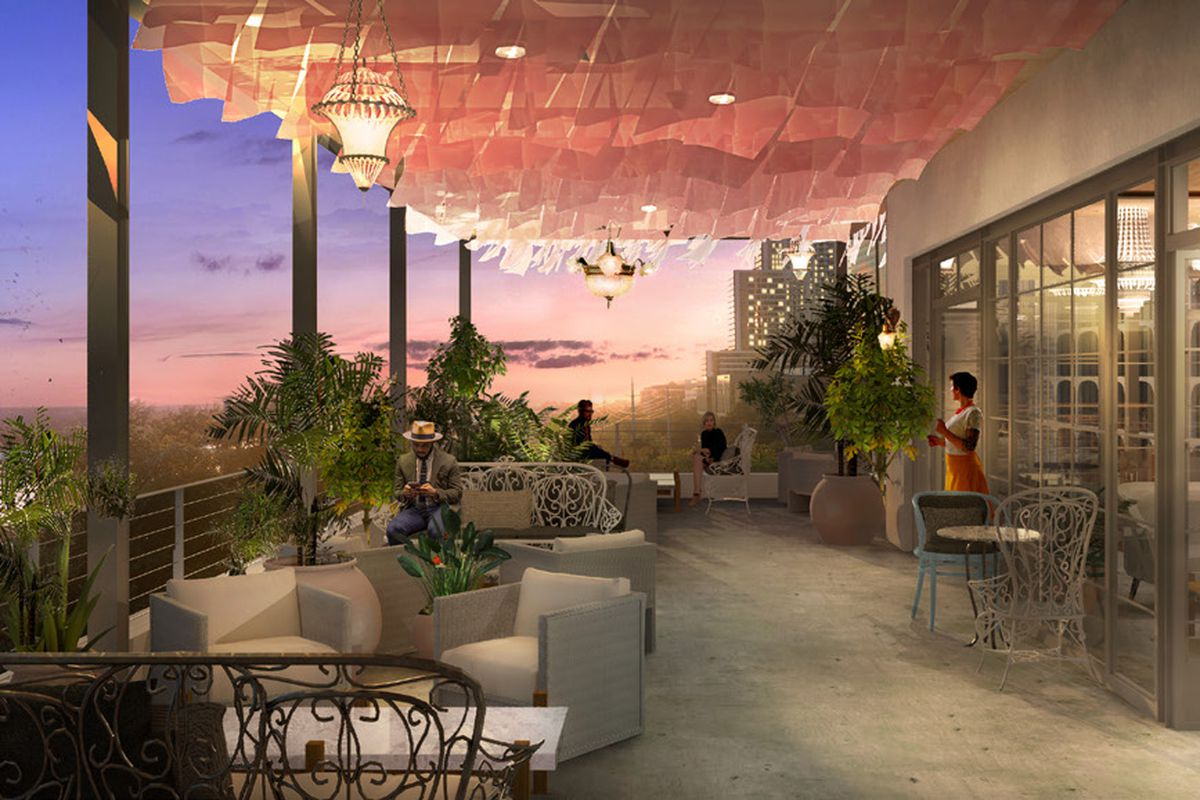 Rendering of Line Hotel's rooftop space, the future home of P6