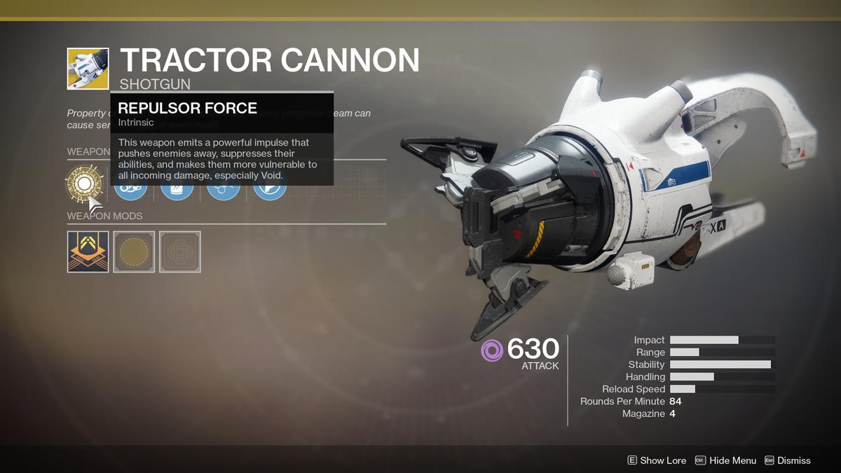 Tractor Cannon Exotic Destiny 2