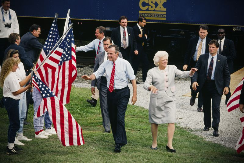 George HW Bush campaigns with Barbara in Arlington, Ohio. Bush was on a whistle stop tour during his unsuccessful bid to retain the Presidency.