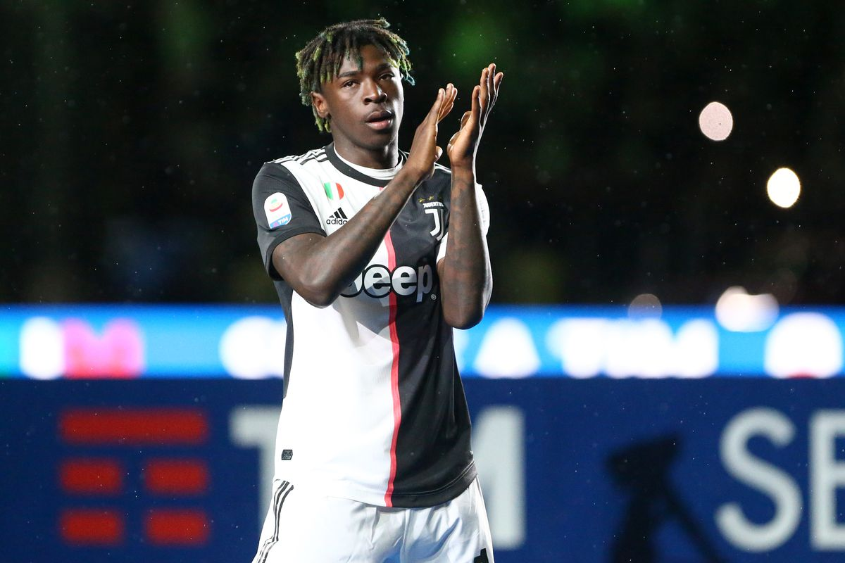 Moise Kean of Juventus FC celebrate the victory of Italian...