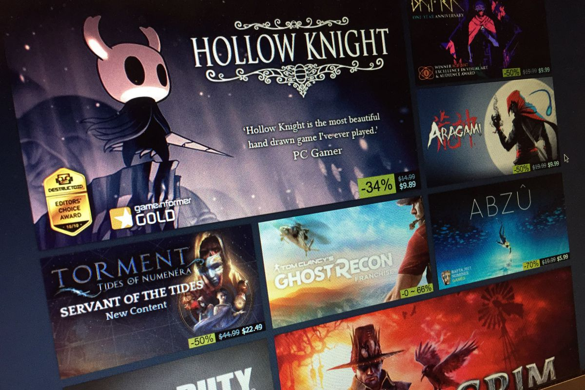 A photo of the Steam Summer Sale front page