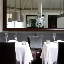 Plush gray velvet seating in the dining room