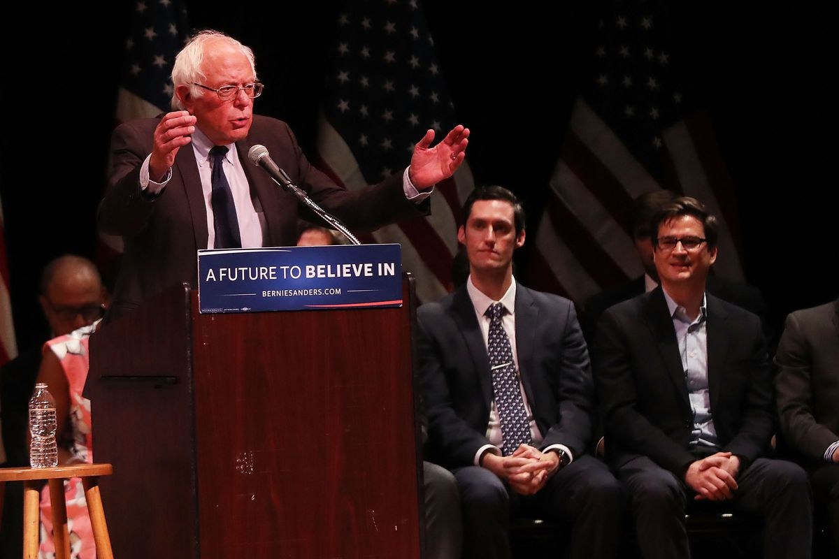 Bernie Sanders at an event in Manhattan earlier this week (no, not on Wall Street).
