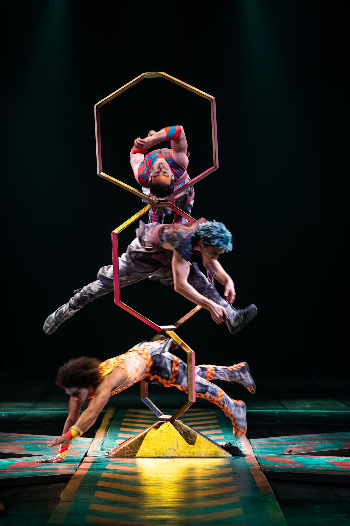 """Kevin Beverley is among the troupe performing the intricate shape-diving hoop routine in Cirque du Soleil's """"Volta."""" 