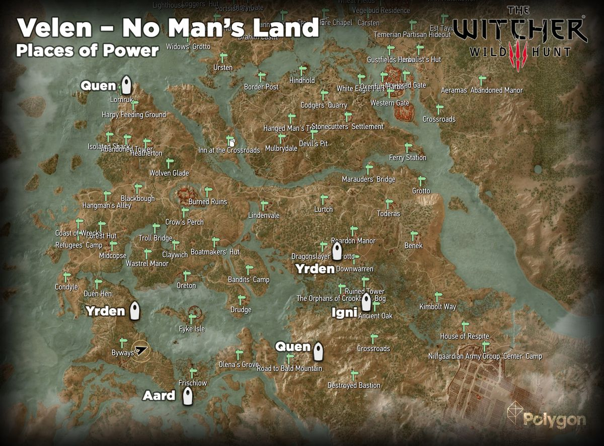 Witcher 3 Velen – No Man's Land Places of Power locations map