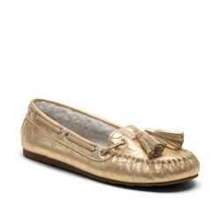 "<a href=""http://www.coach.com/online/handbags/ProductDetailWrapperView?storeId=10551&catalogId=10051&langId=-1&partNumber=Q1756&cid=D_B_RAC_2952"">Anita</a> slipper in gold, $108"