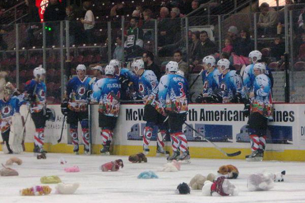 The Sundogs wore special holiday jerseys and had a Teddy Bear Toss on Saturday