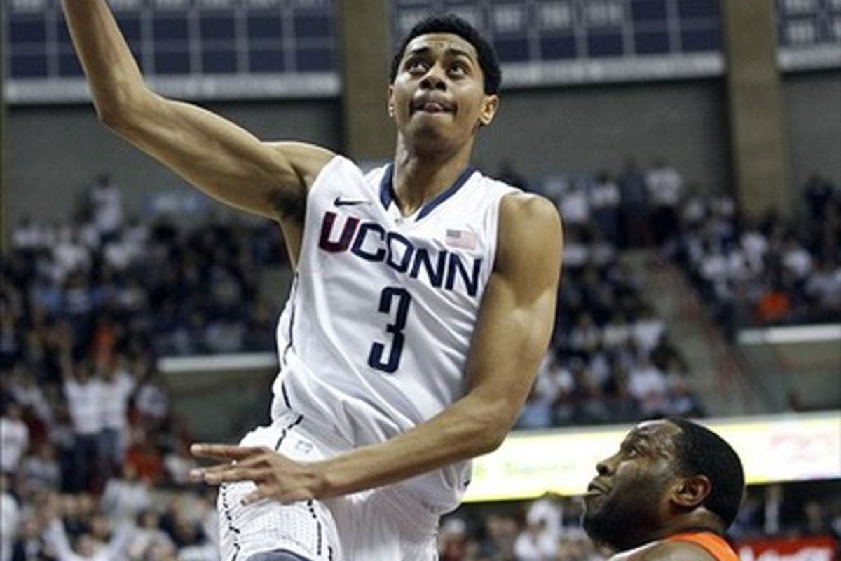Feb 25, 2012; Storrs, CT, USA; Connecticut Huskies guard/forward Jeremy Lamb (3) drives the ball in the first half against the Syracuse Orange at Gampel Pavilion. Mandatory Credit: David Butler II-US PRESSWIRE