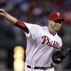 Philadelphia Phillies' Roy Halladay pitches in the second inning of a baseball game against the Miami Marlins, Wednesday, April 11, 2012, in Philadelphia.