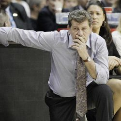 Connecticut head coach Geno Auriemma watches play during the second half of the NCAA women's Final Four semifinal college basketball game against Notre Dame, in Denver, Sunday, April 1, 2012.