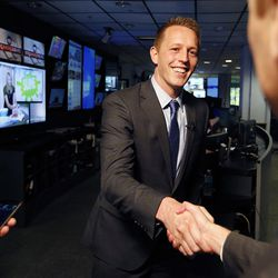 Tanner Ainge, a Republican congressional candidate in the 3rd District, shakes hands following an interview in Salt Lake City on Tuesday, June 20, 2017.