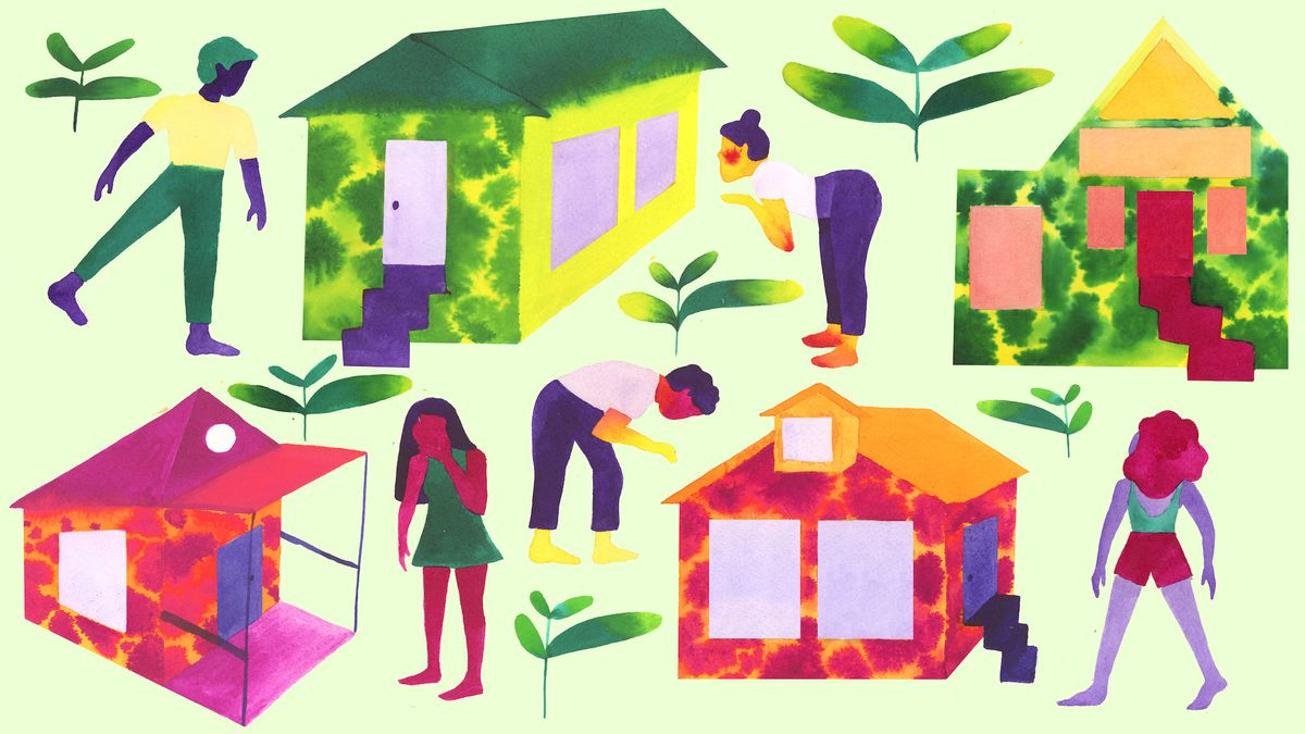 An illustration of people looking inside houses.