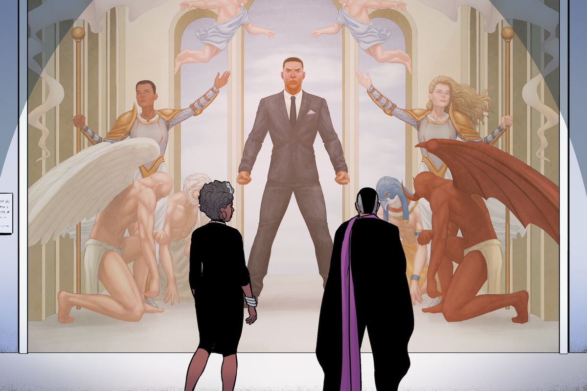 Two middle-aged characters stand in front of a mural depicting a fallen friend in The Wicked + The Divine #45, Image Comics (2019).