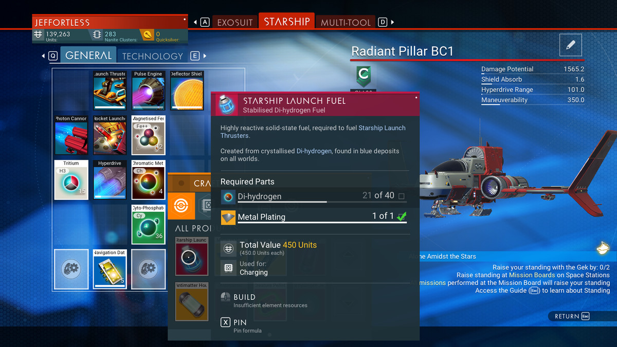 An information window displaying items needed to craft starship launch fuel in No Man's Sky