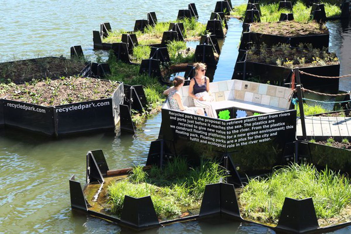 floating park made of recycled river waste